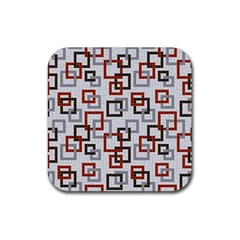 Links Rust Plaid Grey Red Rubber Square Coaster (4 pack)