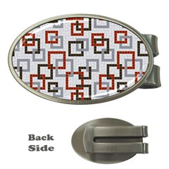 Links Rust Plaid Grey Red Money Clips (Oval)