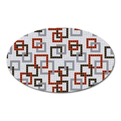 Links Rust Plaid Grey Red Oval Magnet