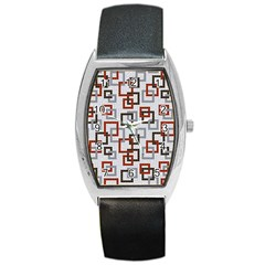 Links Rust Plaid Grey Red Barrel Style Metal Watch