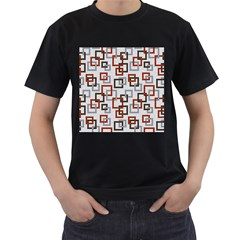 Links Rust Plaid Grey Red Men s T-Shirt (Black) (Two Sided)