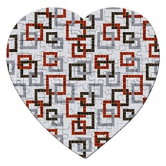 Links Rust Plaid Grey Red Jigsaw Puzzle (Heart)