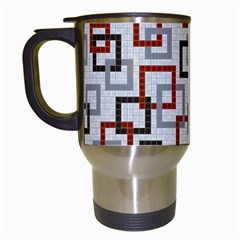 Links Rust Plaid Grey Red Travel Mugs (White)