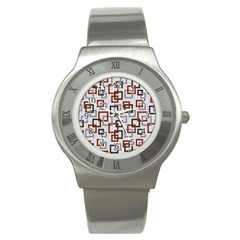 Links Rust Plaid Grey Red Stainless Steel Watch