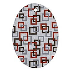 Links Rust Plaid Grey Red Oval Ornament (Two Sides)