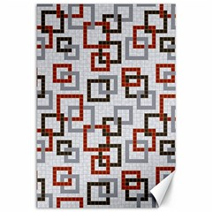 Links Rust Plaid Grey Red Canvas 12  x 18
