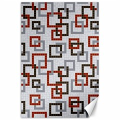 Links Rust Plaid Grey Red Canvas 24  x 36