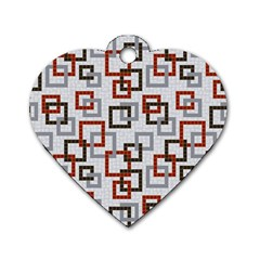 Links Rust Plaid Grey Red Dog Tag Heart (One Side)