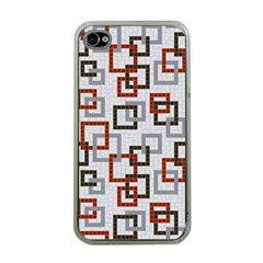 Links Rust Plaid Grey Red Apple iPhone 4 Case (Clear)
