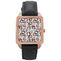 Links Rust Plaid Grey Red Rose Gold Leather Watch