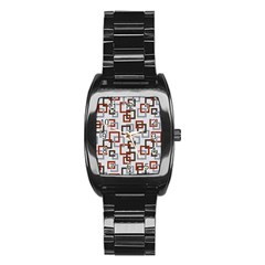 Links Rust Plaid Grey Red Stainless Steel Barrel Watch