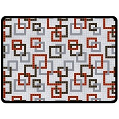 Links Rust Plaid Grey Red Double Sided Fleece Blanket (Large)