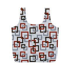 Links Rust Plaid Grey Red Full Print Recycle Bags (M)