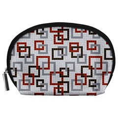 Links Rust Plaid Grey Red Accessory Pouches (Large)