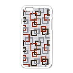 Links Rust Plaid Grey Red Apple iPhone 6/6S White Enamel Case