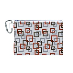 Links Rust Plaid Grey Red Canvas Cosmetic Bag (M)