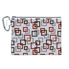 Links Rust Plaid Grey Red Canvas Cosmetic Bag (L)