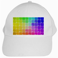 Number Alphabet Plaid White Cap
