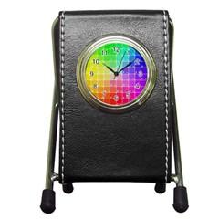 Number Alphabet Plaid Pen Holder Desk Clocks