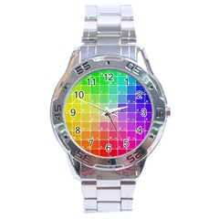 Number Alphabet Plaid Stainless Steel Analogue Watch