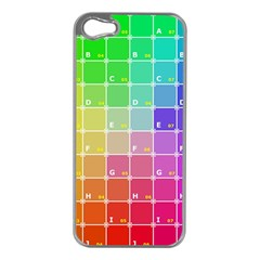 Number Alphabet Plaid Apple iPhone 5 Case (Silver)