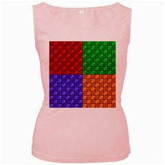 Number Plaid Colour Alphabet Red Green Purple Orange Women s Pink Tank Top