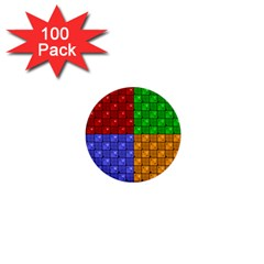 Number Plaid Colour Alphabet Red Green Purple Orange 1  Mini Buttons (100 pack)