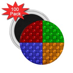 Number Plaid Colour Alphabet Red Green Purple Orange 2.25  Magnets (100 pack)