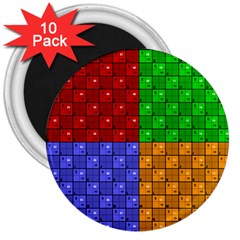 Number Plaid Colour Alphabet Red Green Purple Orange 3  Magnets (10 pack)