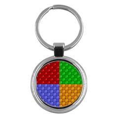 Number Plaid Colour Alphabet Red Green Purple Orange Key Chains (Round)