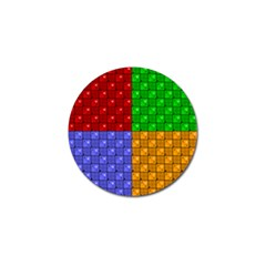 Number Plaid Colour Alphabet Red Green Purple Orange Golf Ball Marker