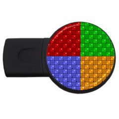 Number Plaid Colour Alphabet Red Green Purple Orange USB Flash Drive Round (1 GB)