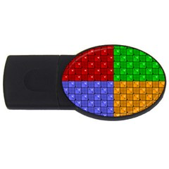 Number Plaid Colour Alphabet Red Green Purple Orange USB Flash Drive Oval (2 GB)