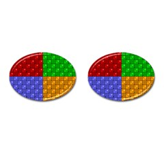 Number Plaid Colour Alphabet Red Green Purple Orange Cufflinks (Oval)