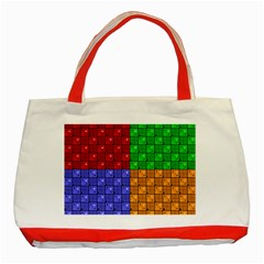 Number Plaid Colour Alphabet Red Green Purple Orange Classic Tote Bag (Red)