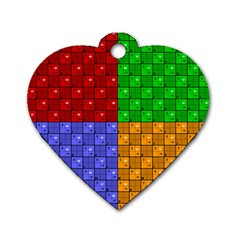 Number Plaid Colour Alphabet Red Green Purple Orange Dog Tag Heart (Two Sides)