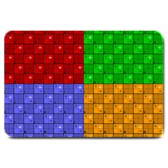 Number Plaid Colour Alphabet Red Green Purple Orange Large Doormat