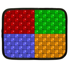 Number Plaid Colour Alphabet Red Green Purple Orange Netbook Case (XL)
