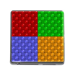 Number Plaid Colour Alphabet Red Green Purple Orange Memory Card Reader (Square)