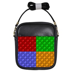Number Plaid Colour Alphabet Red Green Purple Orange Girls Sling Bags