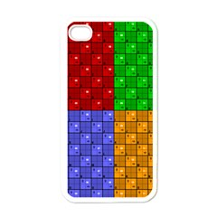 Number Plaid Colour Alphabet Red Green Purple Orange Apple iPhone 4 Case (White)