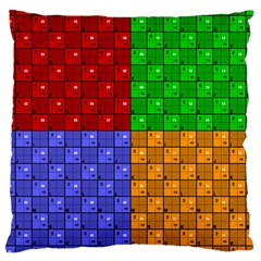 Number Plaid Colour Alphabet Red Green Purple Orange Large Cushion Case (One Side)
