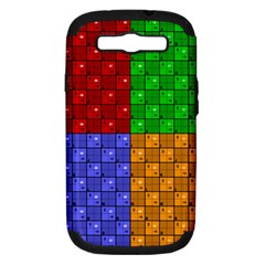 Number Plaid Colour Alphabet Red Green Purple Orange Samsung Galaxy S III Hardshell Case (PC+Silicone)