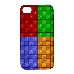 Number Plaid Colour Alphabet Red Green Purple Orange Apple iPhone 4/4S Hardshell Case with Stand