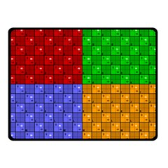 Number Plaid Colour Alphabet Red Green Purple Orange Double Sided Fleece Blanket (Small)