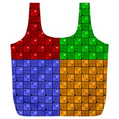 Number Plaid Colour Alphabet Red Green Purple Orange Full Print Recycle Bags (L)