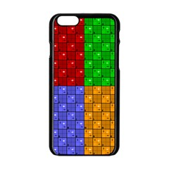 Number Plaid Colour Alphabet Red Green Purple Orange Apple iPhone 6/6S Black Enamel Case