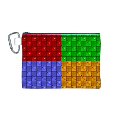 Number Plaid Colour Alphabet Red Green Purple Orange Canvas Cosmetic Bag (M)
