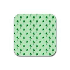 Palm Tree Coconoute Green Sea Rubber Coaster (Square)