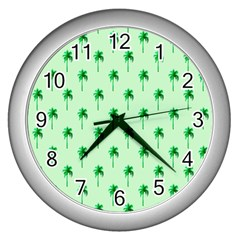 Palm Tree Coconoute Green Sea Wall Clocks (Silver)